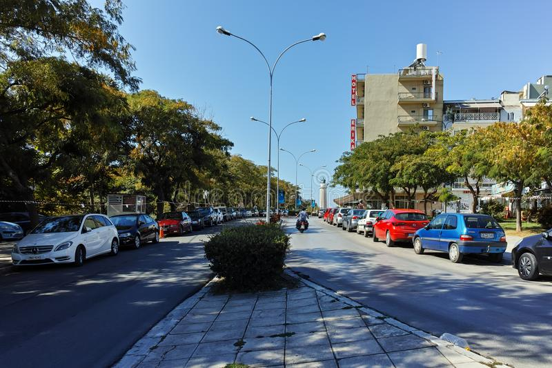 ALEXANDROUPOLI, GREECE - SEPTEMBER 23, 2017: Typical street in town of Alexandroupoli, East Macedonia and Thrace. Greece stock photo