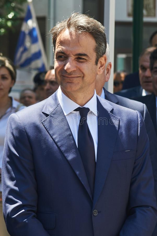 ALEXANDROUPOLI, 14 GRIEKENLAND-MEI, 2018: Griekse Leider van Nieuwe Democra stock fotografie