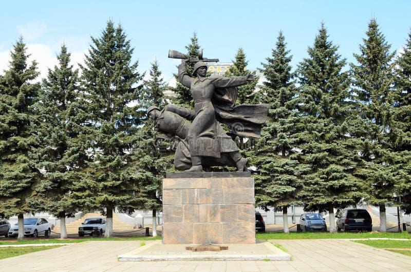 Alexandrov, Rusland, mag, 02,2014 Gedenkteken in geheugen van gevallen in de grote Patriottische oorlog in de stad van Alexandrov royalty-vrije stock afbeelding