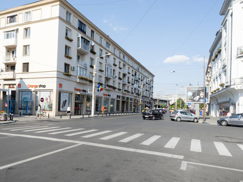 Alexandru Ioan Cuza street, Craiova, Romania. Alexandru Ioan Cuza street in Craiova, Romania. Craiova is Romania`s 6th largest city and capital of Dolj County stock images