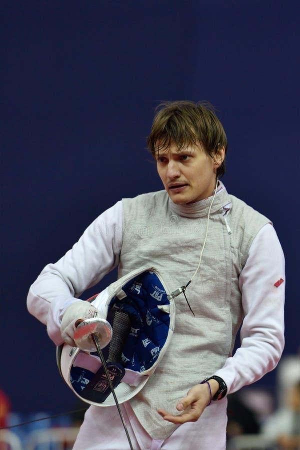 Alexey Cheremisinov tijdens de Internationale schermende Folie 2015 van toernooienst. petersburg royalty-vrije stock afbeeldingen