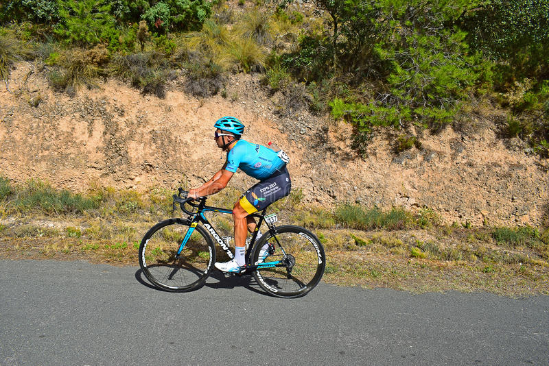 Alexey Lutsenko La Vuelta España. The Astana Pro Team rider on stage eight Xorret De Cati in the 2017 La Vuelta Espana bike race stock photography
