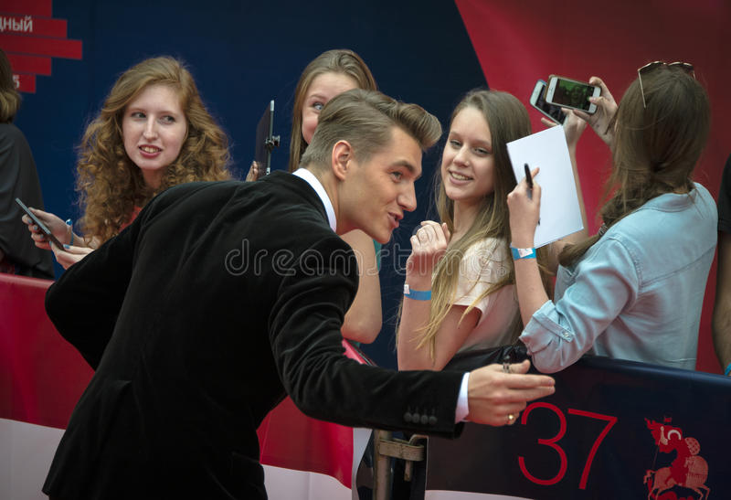 Alexey Vorobyov on the red carpet 37 Moscow International film Festival stock photography