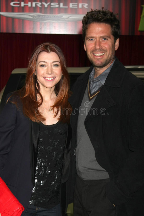 Alexis Denisof, Alyson Hannigan, les Muppets photo stock