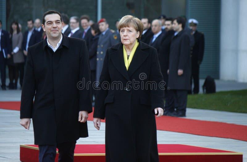 Alexis Tsipras, Angela Merkel lizenzfreies stockfoto