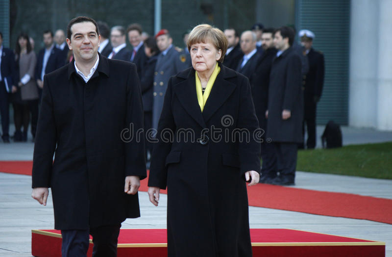 Alexis Tsipras, Angela Merkel royalty-vrije stock foto