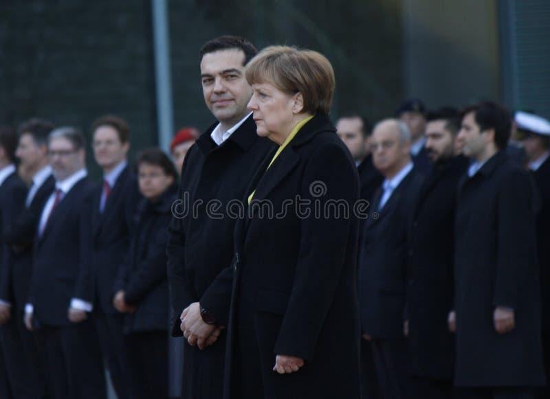 Alexis Tsipras, Angela Merkel. MARCH 23, 2015 - BERLIN: Greek Prime Minister Alexis Tsipras, German Chancellor Angela Merkel - meeting in the Chanclery in Berlin stock image