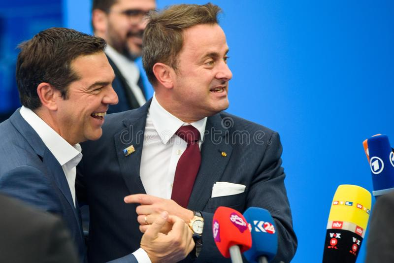 Alexis Tsipras, Eerste minister van Griekenland en Xavier Bettel, Eerste minister van Luxemburg stock fotografie