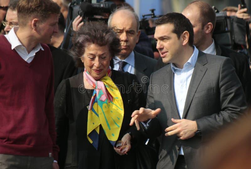 Alexis Tsipras, Lea Rosh immagine stock