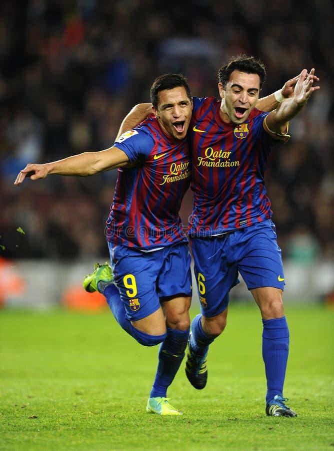 Alexis und Xavi von FC Barcelona stockfotografie