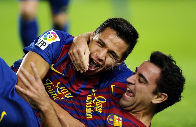 Alexis and Xavi of FC Barcelona