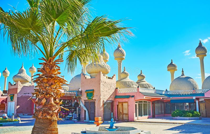 Shopping areas in Sharm El Sheikh, Egypt. Alf leila wa leila 1001 nights bazaar in Sharm El Sheikh is the popular shopping area, located next to the Fantasia royalty free stock photography