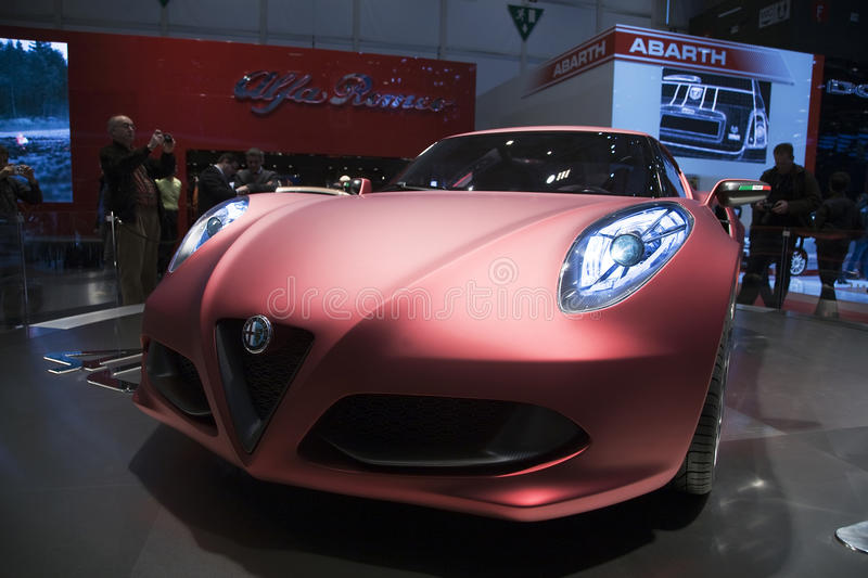 Alfa Romeo 4C concept car World. The Alfa Romeo 4C concept car debuts at the Geneva Auto Show and wows the crowd. It is set to go on sale in several markets in stock photography