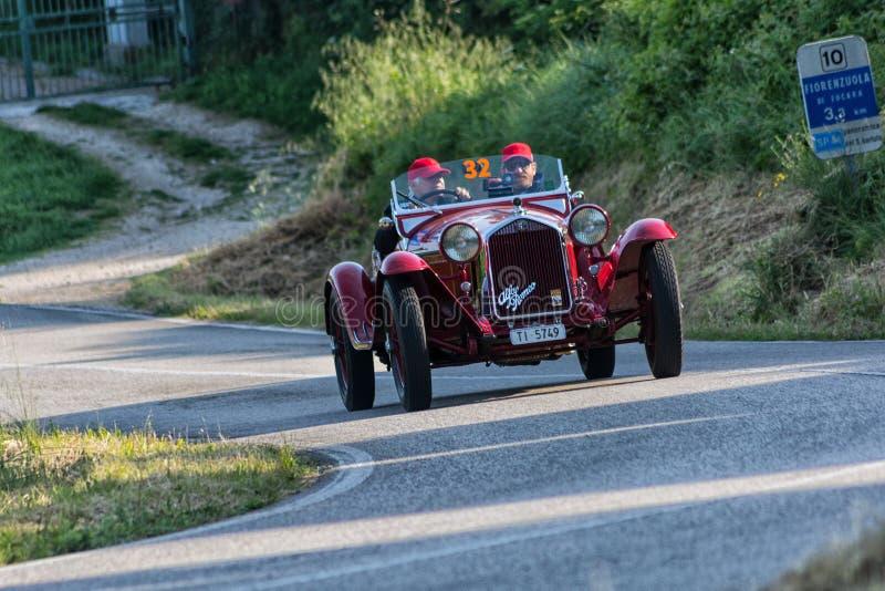 ALFA ROMEO 6C 1750 GRAN SPORT BRIANZA1932. PESARO COLLE SAN BARTOLO , ITALY - MAY 17 - 2018 :old racing car in rally Mille Miglia 2018 the famous italian stock images