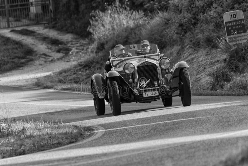 ALFA ROMEO 6C 1750 GRAN SPORT BRIANZA1932. PESARO COLLE SAN BARTOLO , ITALY - MAY 17 - 2018 :old racing car in rally Mille Miglia 2018 the famous italian stock photography