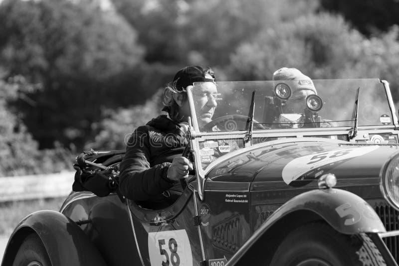 ALFA ROMEO 6C 1750 GRAN SPORT BRIANZA1932. PESARO COLLE SAN BARTOLO , ITALY - MAY 17 - 2018 :old racing car in rally Mille Miglia 2018 the famous italian royalty free stock photos