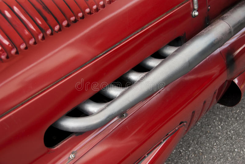 Alfa Romeo exhaust. Exhaust, manifold from a 1930ies Alfa Romeo grand prix car royalty free stock images