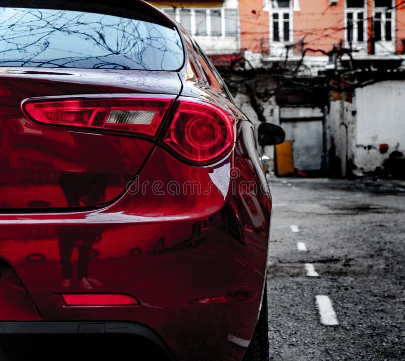 Alfa Romeo Giuletta, colore rosso scuro, lavato e lucidato fotografia stock libera da diritti