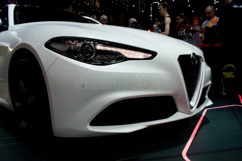 Alfa Romeo Giulia em Genebra 2016 fotos de stock royalty free