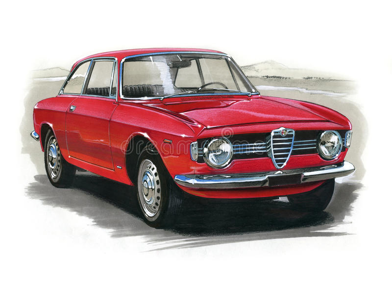 Alfa Romeo Giulia GT 1300 Junior stock illustration