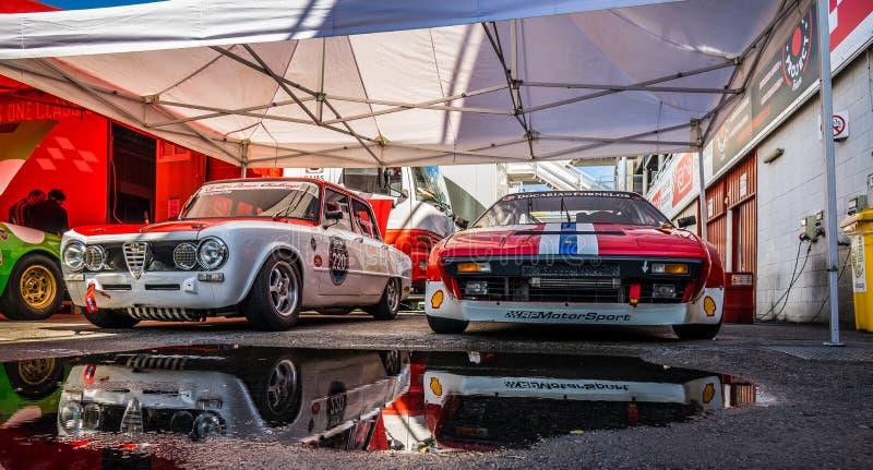 Alfa Romeo Giulia TI Super w montjuic spirytusowego Barcelona obwodu samochodowym przedstawieniu obrazy royalty free