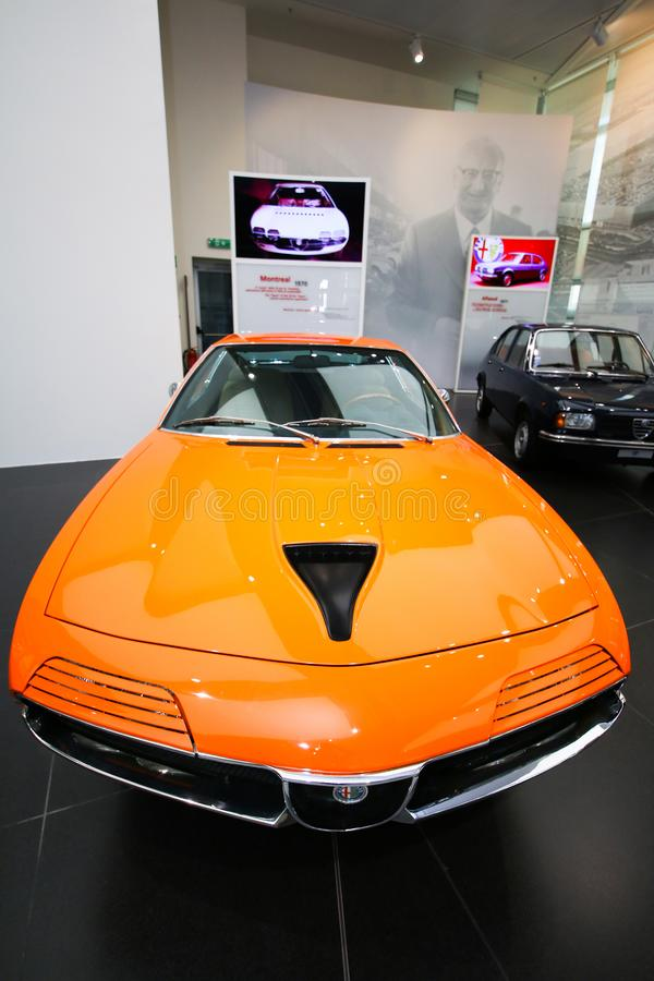 Alfa Romeo Montreal model on display at The Historical Museum Alfa Romeo. In Arese, Italy stock photo