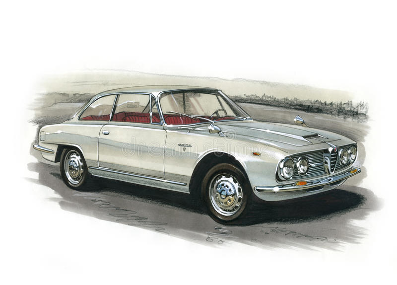 Alfa Romeo 2600 Sprint Coupe 1966 stock illustration