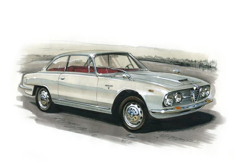 Alfa Romeo 2600 sprintar kupén 1966 stock illustrationer