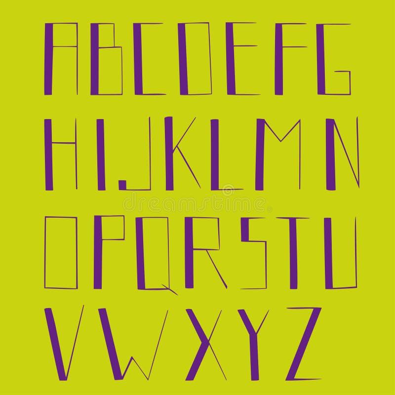 Alfabet、强的信件,被隔绝的信件,绿色和紫色颜色 库存例证