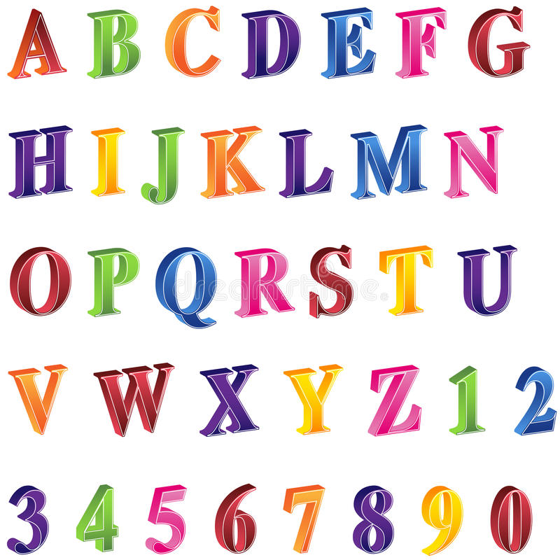 alfabet 3d stock illustrationer