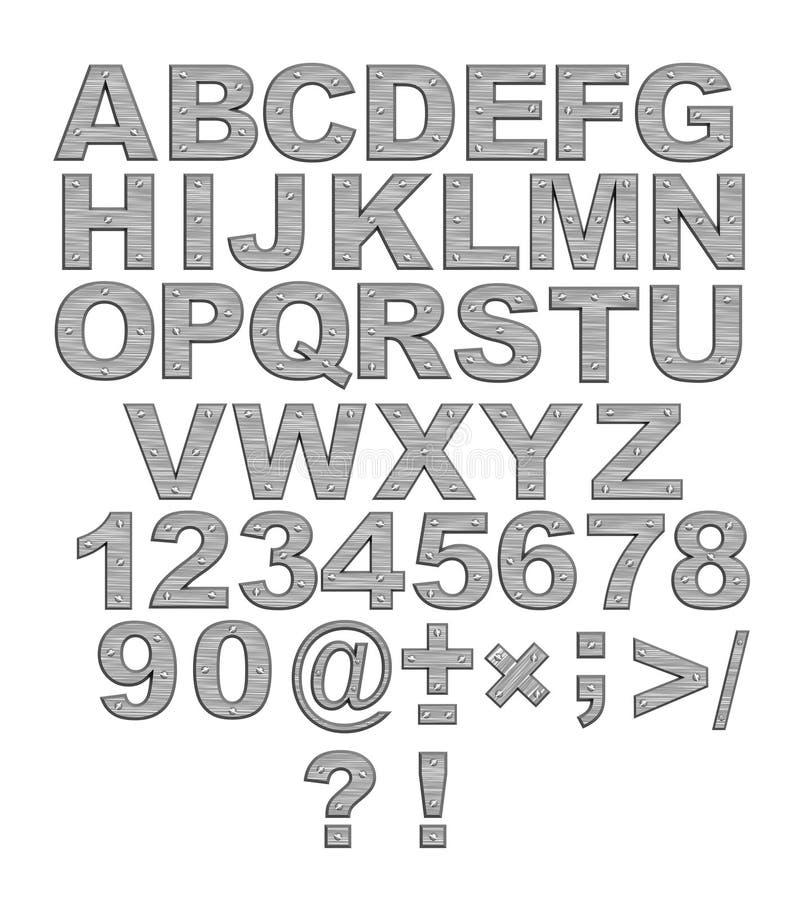 Alfabet - 3d brieven van metaal met klinknagels vector illustratie