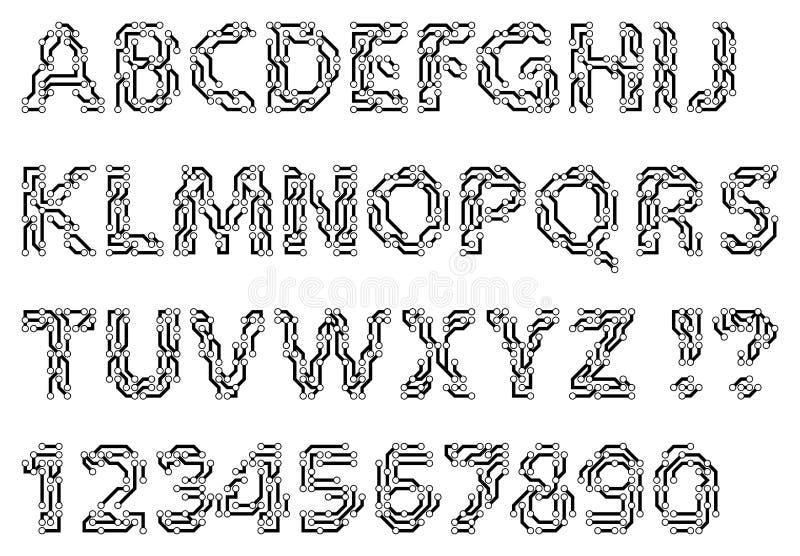 Alfabet av bokstäver och siffror för en strömkretsstil Techno maskinskrivet manuskript stock illustrationer