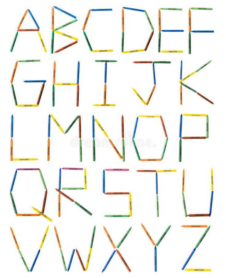 alfabet barwione kredki fotografia royalty free