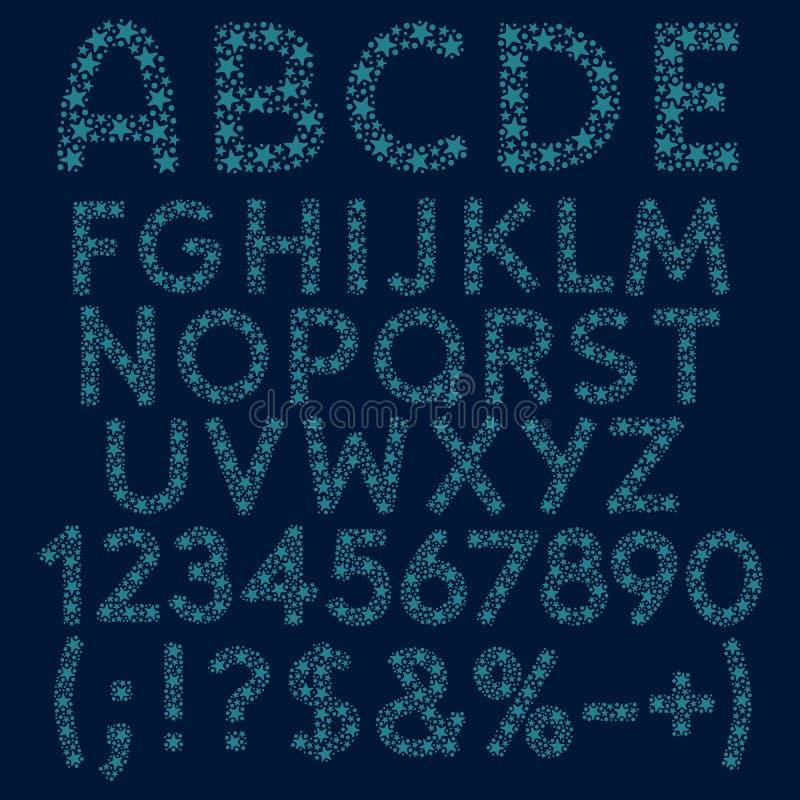 Alfabet, bokstäver, nummer och tecken av blåa konstellationer, stjärnor och prickar Uppsättning av isolerade vektorobjekt vektor illustrationer