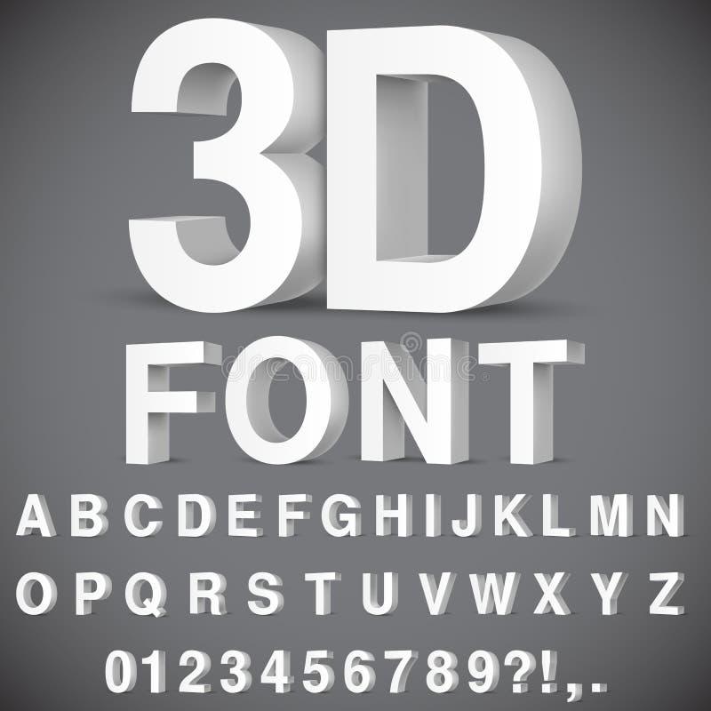 alfabet 3D och nummer royaltyfri illustrationer