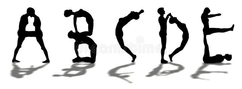 Alfabet dat door de mens ABCDE wordt gevormd stock illustratie