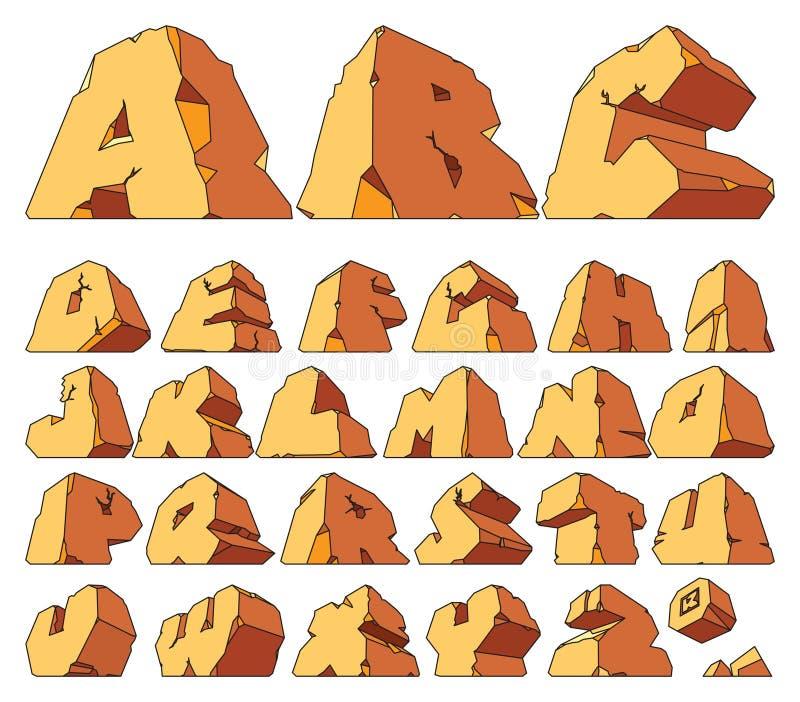 Alfabet dat van steen wordt gemaakt stock illustratie