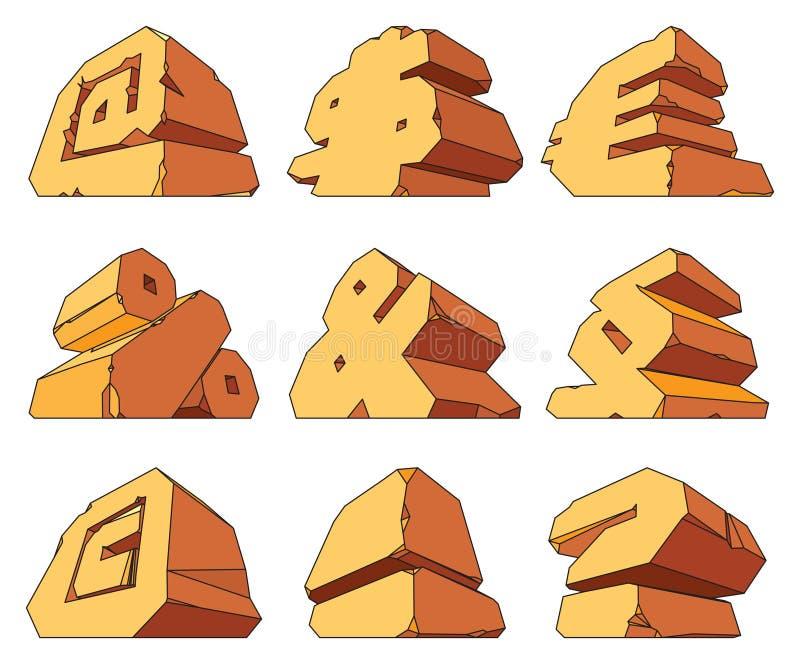 Alfabet dat van steen wordt gemaakt: symbolen vector illustratie
