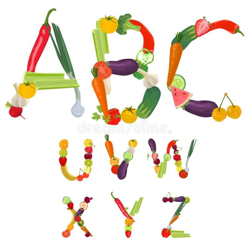 Alfabet dat van vruchten en groenten wordt gemaakt royalty-vrije illustratie