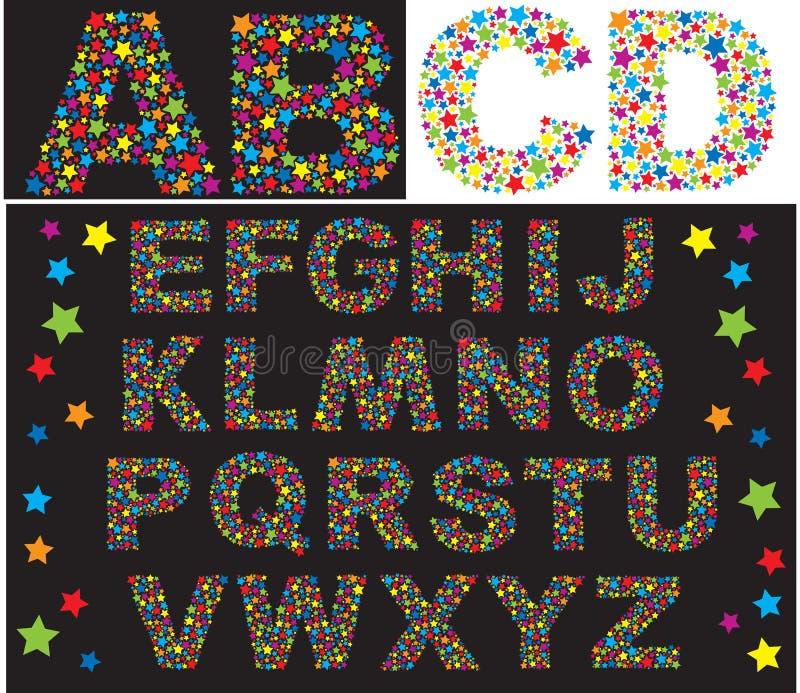 Alfabet - de brieven worden gemaakt van multicolored sterren stock illustratie