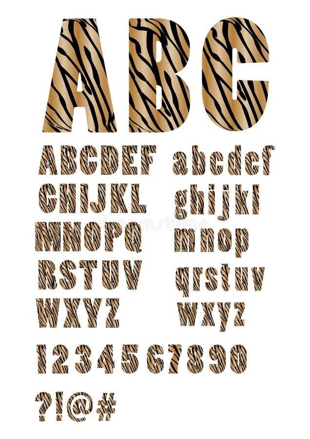Alfabet in de huid van de stijltijger, in hoofdletters en kleine letters, aantallen, vraag en uitroepteken, karakters bij en knoe stock illustratie
