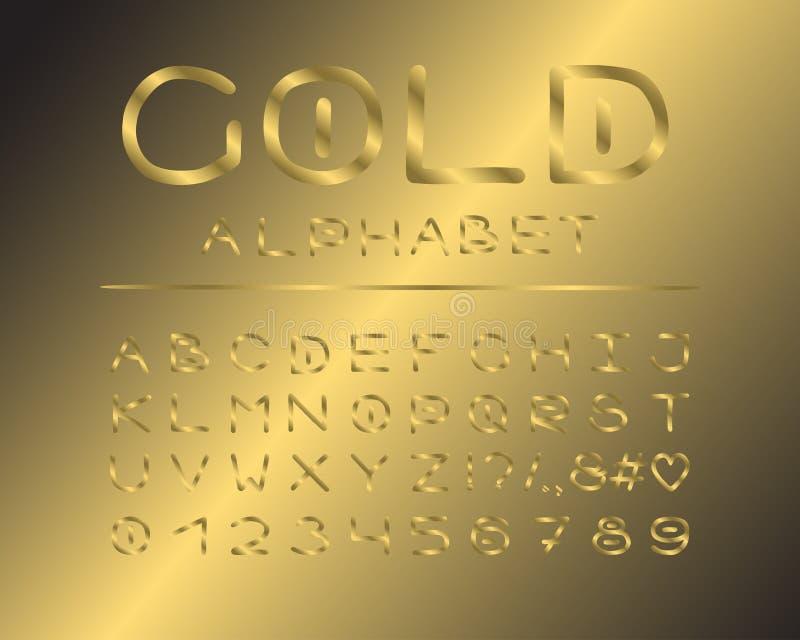 Alfabet elegant ontwerp De stijl van de luxekleur Engelse brieven, aantallen, leestekens Monospaced doopvont vectortypografie Han vector illustratie