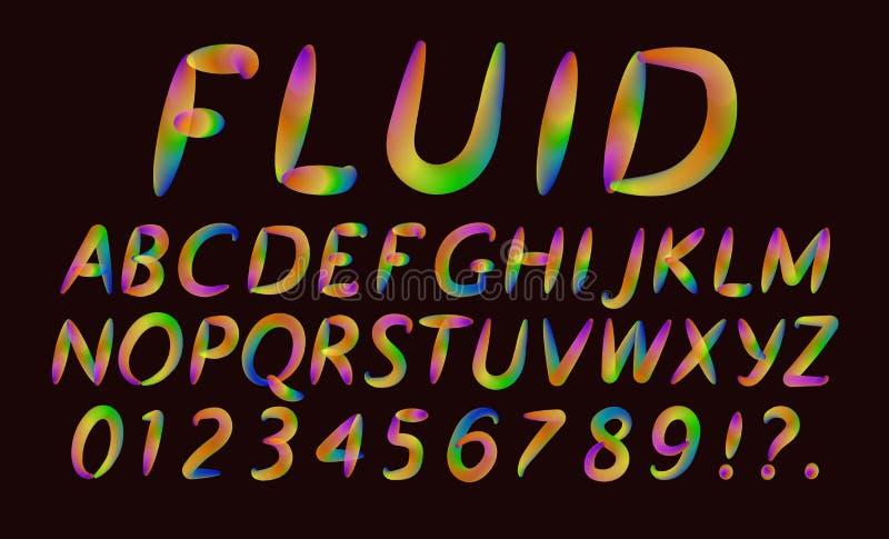 Alfabet en aantallen van vloeibare multicolored transparante brieven, Modieuze doopvont, in tendens royalty-vrije illustratie