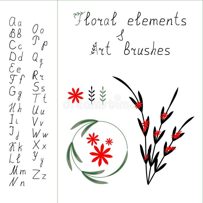 Alfabet en bloemenelementen vector illustratie