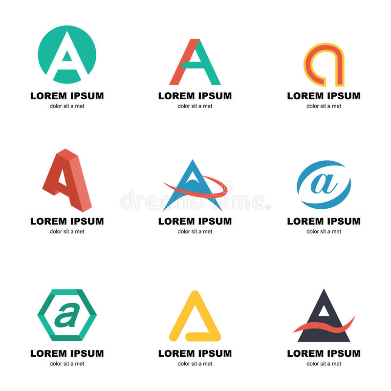 Alfabet en logo stock illustrationer