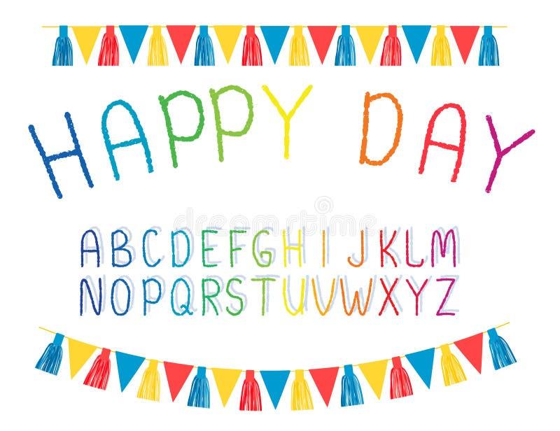 Alfabet enkla bokstäver som dras av handen Efterföljd av krita Festliga girlander, flaggor vektor stock illustrationer