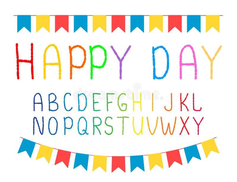 Alfabet enkla bokstäver som dras av handen Efterföljd av krita Festliga girlander, flaggor vektor royaltyfri illustrationer