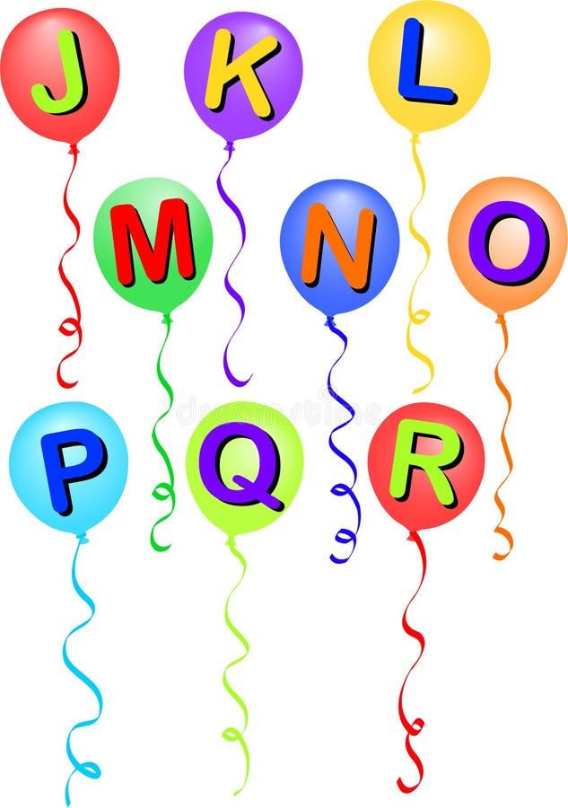 alfabet eps balonowy r j. royalty ilustracja