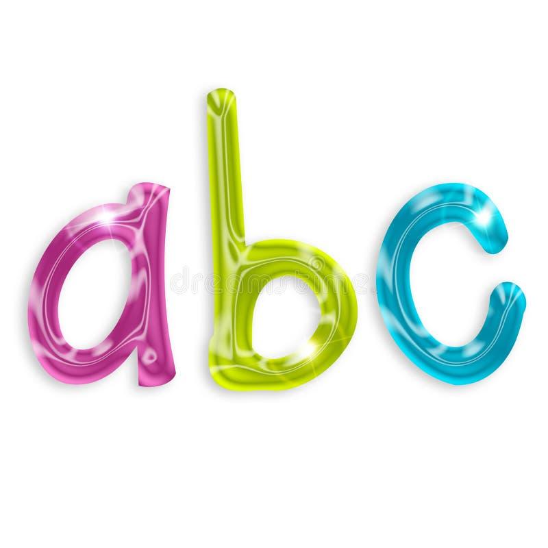 Alfabet färgade bokstäver royaltyfri illustrationer