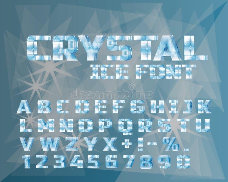 Alfabet för iskristall Djupfryst stilsort vektor illustrationer